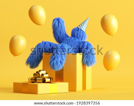 3d render, funny hairy blue monster sits inside the big gift box, flying air balloons, Yeti cartoon character celebrating birthday party. Festive clip art isolated on yellow background Foto stock ©