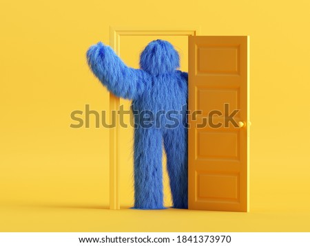 3d render, funny hairy blue monster with hand up, stands inside the doorway, in the yellow room. Modern minimal cartoon character concept Photo stock ©