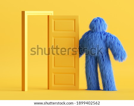 3d render, funny hairy yeti toy, blue monster stands near open door inside the yellow room. Modern minimal interior. Abstract cartoon character concept Photo stock ©
