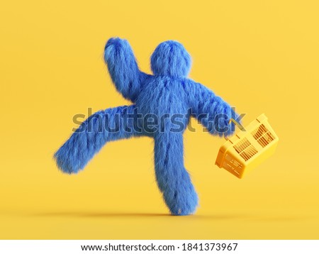 3d render, funny Yeti cartoon character goes shopping, with shopping cart, hairy blue monster toy. Sale concept. Commercial clip art isolated on yellow background Stock photo ©