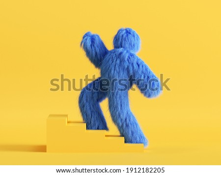 3d render, funny Yeti cartoon character goes upstairs the simple steps. Success concept. Funny toy, hairy blue monster clip art isolated on yellow background Foto stock ©