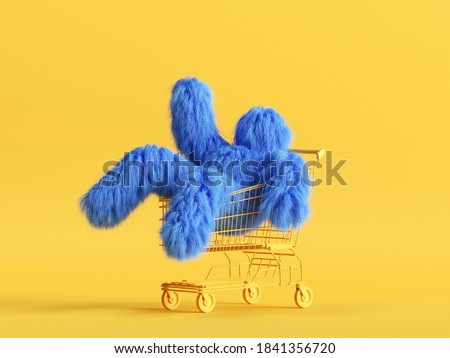 3d render, funny Yeti cartoon character sits inside the shopping cart, hairy blue monster toy. Sale concept. Commercial clip art isolated on yellow background Photo stock ©