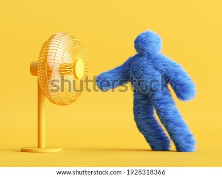 3d render, funny Yeti cartoon character stands opposite the fan and resists the wind. Resistance concept. Funny toy, hairy blue monster clip art isolated on yellow background Foto stock ©