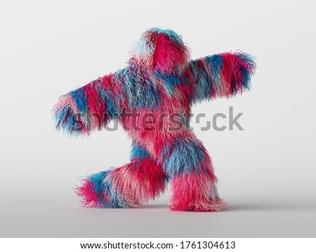 3d render, furry beast cartoon character walking or dancing, isolated on white background, active posing. Fluffy toy. Colorful pink blue hairy monster Photo stock ©
