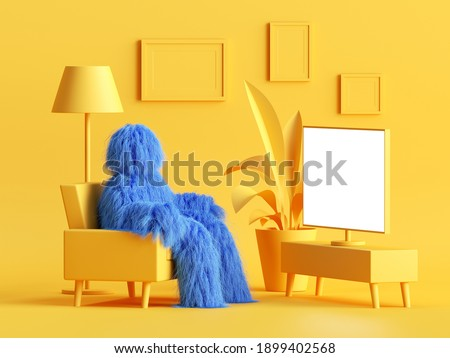 3d render, furry blue cartoon character monster sits in comfortable armchair in front of TV with blank screen mockup. Modern minimal yellow living room interior. Hairy beast inside the dollhouse.