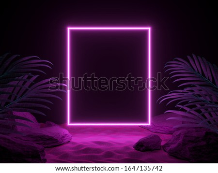 3d render futuristic scene of night beach with tropical leaves and neon light. Cyberpunk poster. Night party banner. Party invitation, beach party. 3d illustration.  Foto d'archivio ©