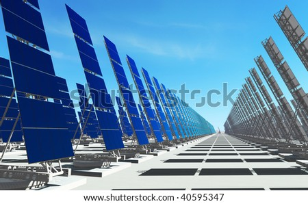 3D render - futuristic solar power plant on concrete platform;  number of solar panels to the horizon.