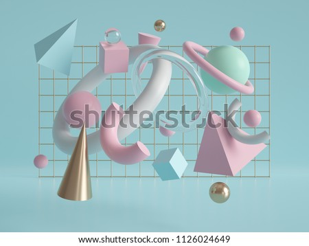 3d render, geometric background, flying objects, gold cone, pyramid, cube, ball, torus, primitive shapes, chaos, mint pink white pastel colors