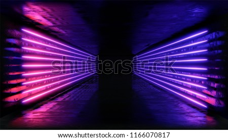3d render. Geometric figure in neon light against a dark tunnel. Laser line glow. Neon backgrounds