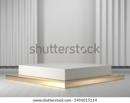 3d render geometric podium.White 3d podium showcase for product