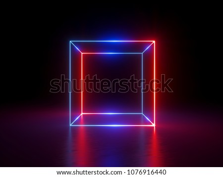 3d render, glowing lines, neon lights, abstract background, cube cage, ultraviolet, infrared, spectrum vibrant colors, laser show