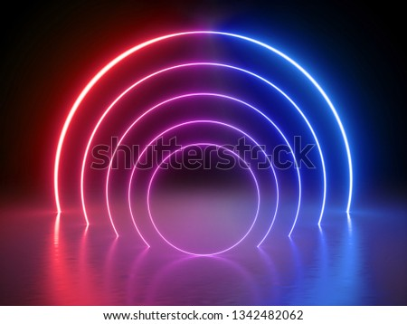 3d render, glowing lines, tunnel, neon lights, virtual reality, abstract background, round portal, arch, pink blue spectrum vibrant colors, laser show