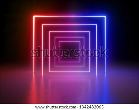 3d render, glowing lines, tunnel, neon lights, virtual reality, abstract background, square portal, arch, red blue spectrum vibrant colors, laser show