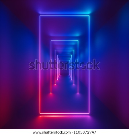 3d render, glowing lines, tunnel, ultraviolet spectrum, pink blue neon lights, virtual reality, abstract background, square portal, vertical arch, pink blue spectrum vibrant colors, laser show
