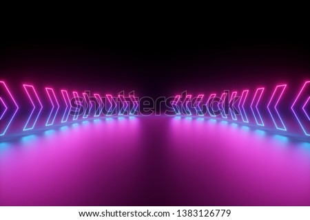 3d render, glowing neon arrows, abstract background, direction concept