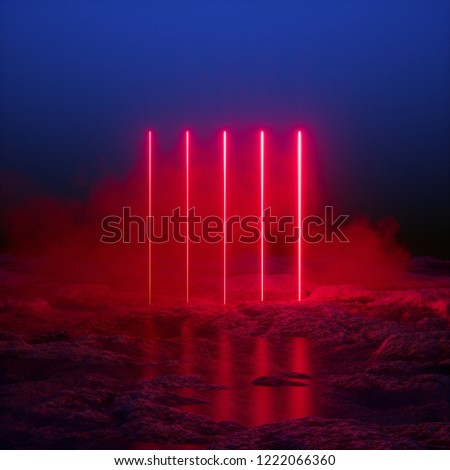 3d render, glowing vertical lines, red neon lights, abstract psychedelic background, infrared spectrum, vibrant colors, laser show