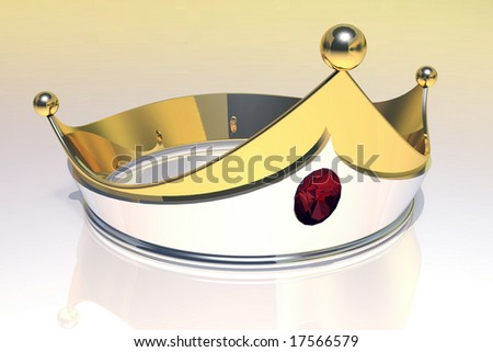 3D render Gold crown with central Ruby.