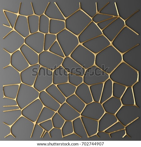3D render gold lattice modern