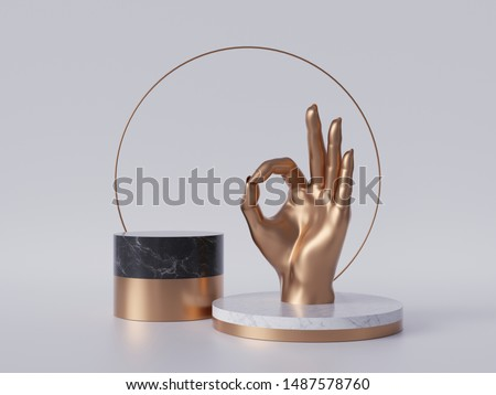 3d render, golden hand, okay sign gesture, black marble pedestal isolated on white background, minimalist concept, gold round frame, blank cylinder podium, simple clean design, luxury minimal mockup