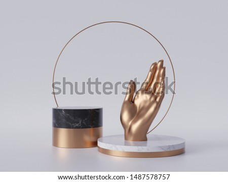 3d render, golden hand, palm, black marble pedestal isolated on white background, gold round frame, blank cylinder podium, simple design, abstract concept, luxury minimal mockup