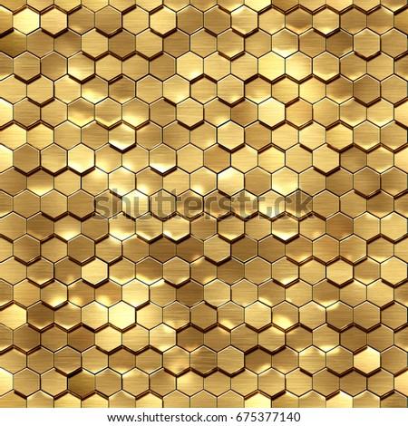 3d render, golden honeycomb wall texture, gold hexagon clusters, abstract geometric background.High-resolution seamless texture