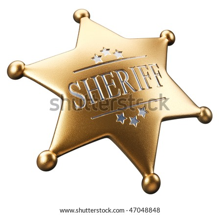 3d render golden sheriff's badge isolated on white