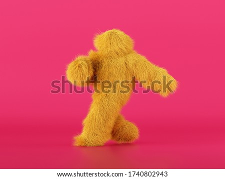 3d render, hairy yellow beast cartoon character walking or dancing, isolated on pink background, active posing. Fluffy plush toy. Man wearing halloween costume of a mascot, furry monster Photo stock ©