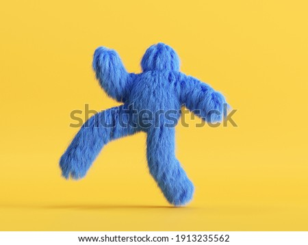 3d render, hairy yeti, furry monster cartoon character walking, running or dancing, fluffy toy, hairy beast, isolated on yellow background, active pose. Photo stock ©