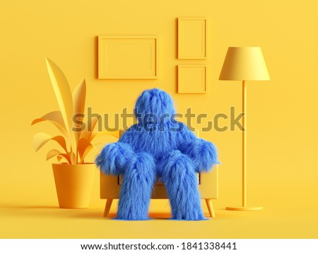 3d render, hairy yeti toy, blue cartoon character monster sits in an armchair inside modern minimal yellow living room. Abstract dollhouse interior Photo stock ©