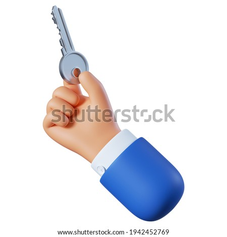 3d render. Hand icon, access concept. Cartoon character holds metallic key. Business clip art isolated on white background. Real estate illustration.
