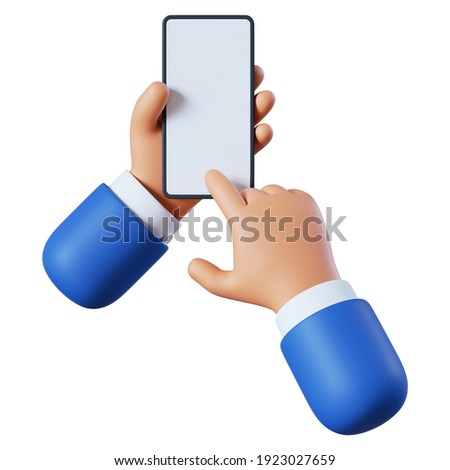 3d render. Hands hold blank smart phone icon. Cartoon character with mobile device. Business clip art isolated on white background