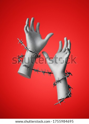 3d render, hands wrapped with barbed wire, isolated on red background. Social justice concept. Human rights violation. Constrained freedom Сток-фото ©