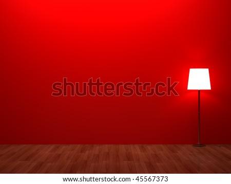 3d render home Interior. High resolution image. Retro bedroom lamp.