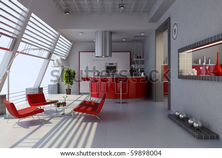 3d render home interior with modern style