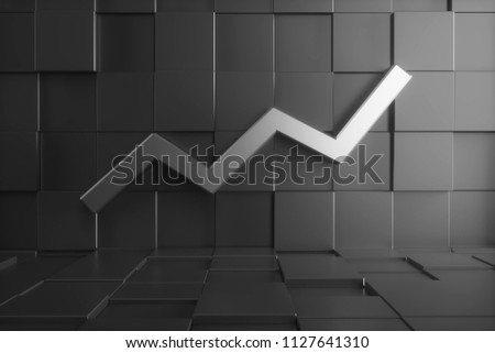 3d render huge metal graph moving up on the wall. Abstract room made of black glossy sharp cubes.