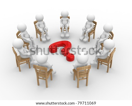 3d render - human character- people sitting on chairs in a circle with question mark. 3d render