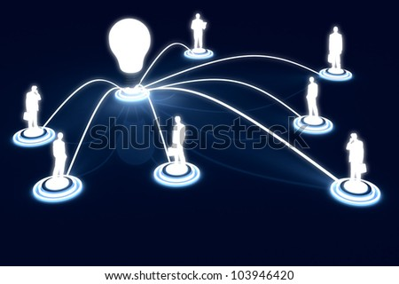 3D render human Link networking lightbulb Public Data Business