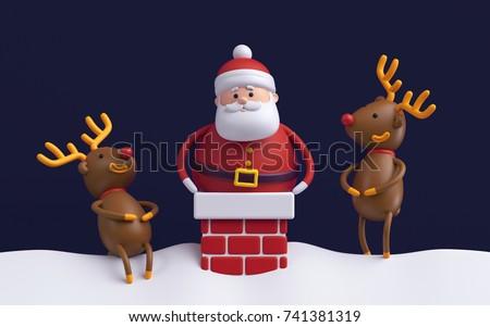 3d render, humorous Christmas scene, cartoon characters, fat Santa Claus stuck in chimney, deers laughing