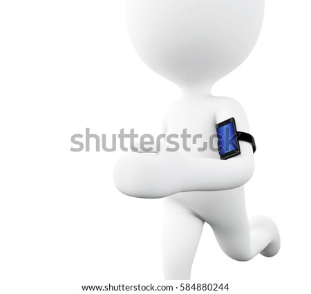 3d render ilistration. White people running with a mobile phone. Sport and technology concept. Isolated white background