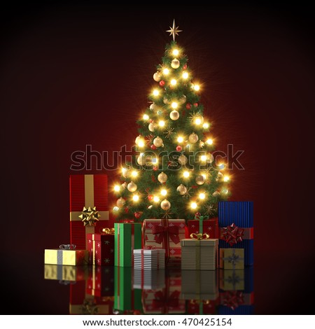 3d render -  illuminated christmas tree with gifts #470425154