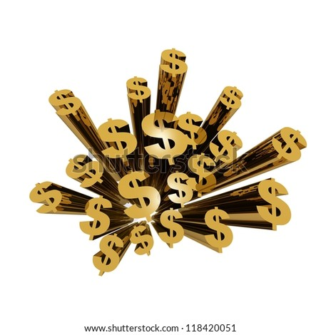 3d render illustration golden dollar symbols viewed from top with very wide angle.