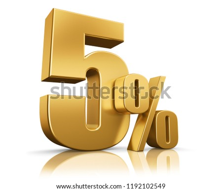 3d render illustration. Golden five percent on a white background.