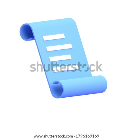 3D RENDER ILLUSTRATION LIST BILL PAPER PAYMENT TRANSACTION ICON LOGO ISOLATED ON WHITE BACKGROUND