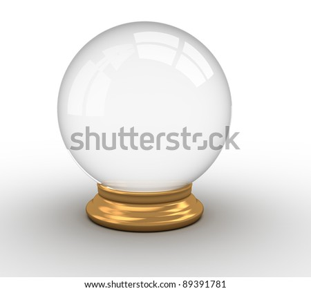 3d render illustration of a crystal ball over white