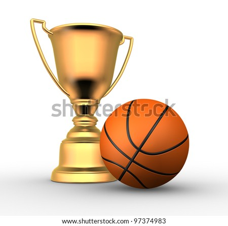 3d render illustration of a golden trophy with a basketball ball