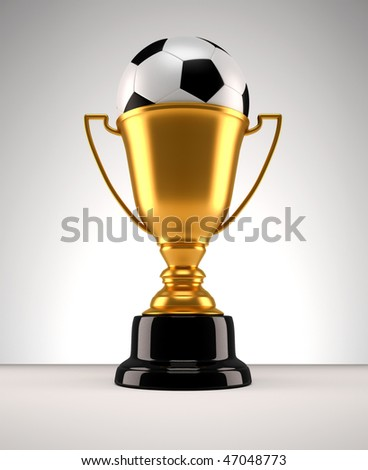 3d render illustration of a golden trophy with a football ball