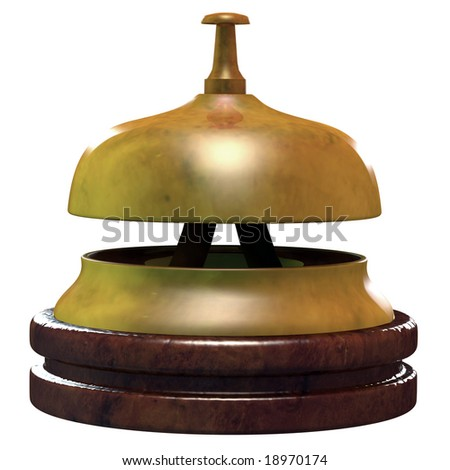 3D render illustration of a hotel bell, with wooden bottom. A clipping path is included.