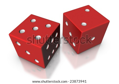 3D render illustration of a pair of dice with lucky number seven.