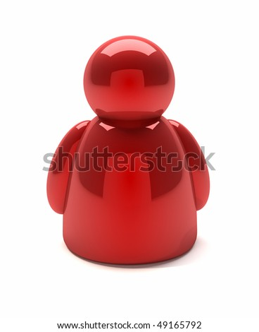 3d render illustration of a red people icon
