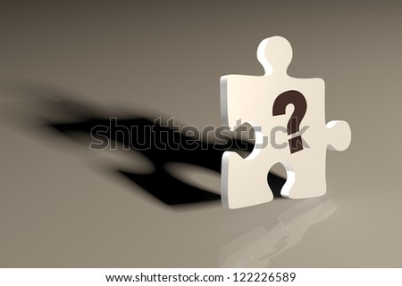 3d render illustration of a single puzzle piece with a question mark.